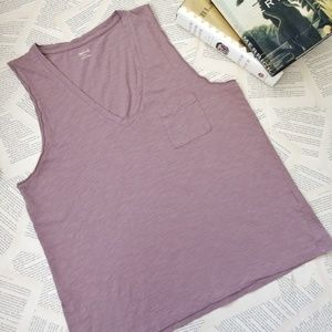 MADEWELL Whisper Cotton V-Neck Pocket Tank Top
